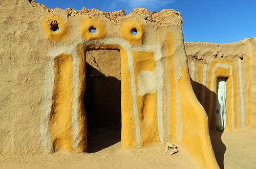 senegal podor morfil island ivory village rural african africa door wall etnic yellow painting