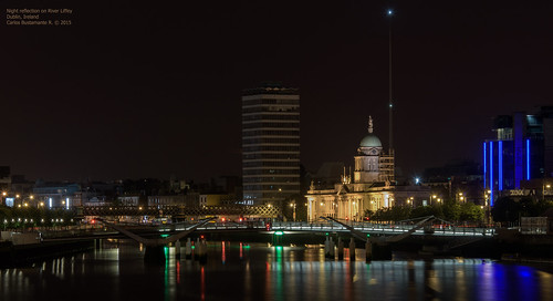 Night reflection on River Liffey