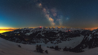 Churfirsten milky way and dawn