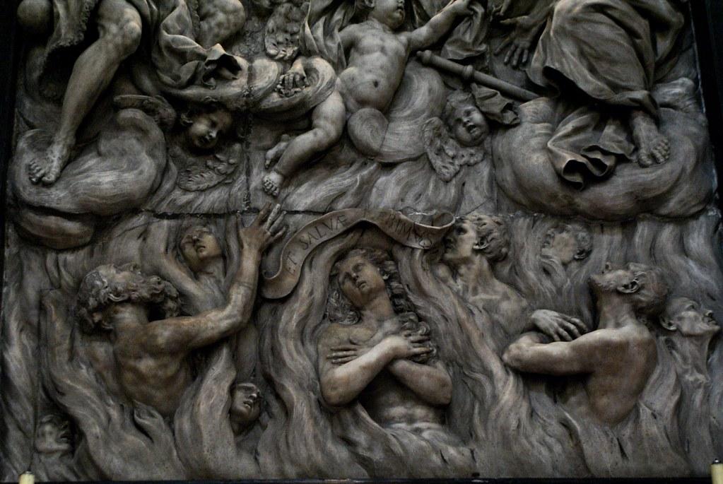 Sculpture de l'enfer à la basilique Santa Maria delle Vigne à Gênes.