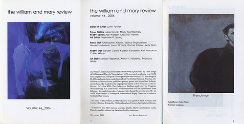 Frenchman, The William and Mary Review, Volume 44, 2006 | by Matthew Felix Sun
