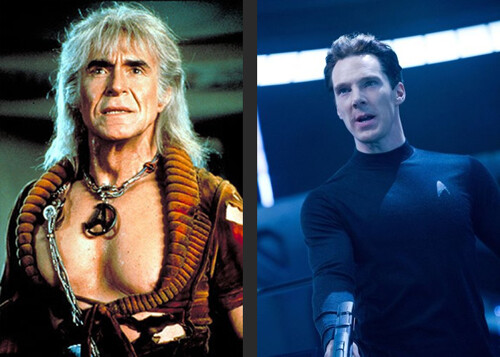 Ricardo Moltoban as Khan in 1982 is on the left. Benedict Cumberbatch as Khan in 2013 is on the right.