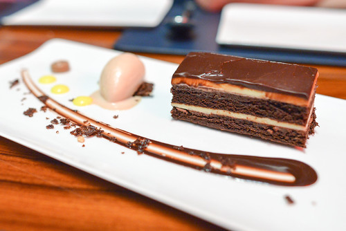 Chocolate Layers chocolate cake, passion fruit ganache layers, dark chocolate gianduja ice cream