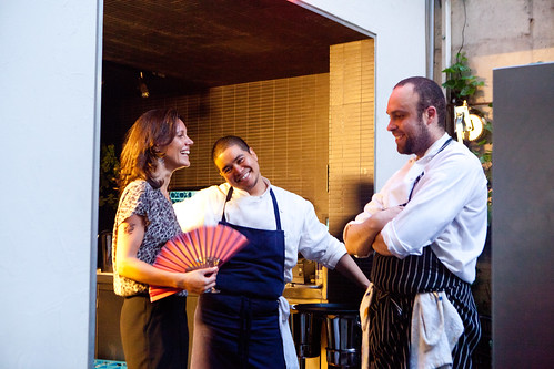 The chefs of Hotel Americano (center: Exec Chef Joseph Buenconsejo; Sous Chef Tony Venegas) and Marianne Fabre-Lanvin