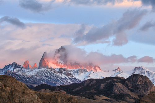 travel patagonia mountain argentina sunrise landscape fitzroy