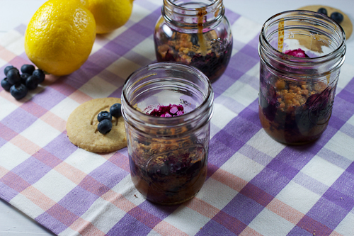 Blueberry Pie Crumble in a Jar | The Girl in the Little Red Kitchen