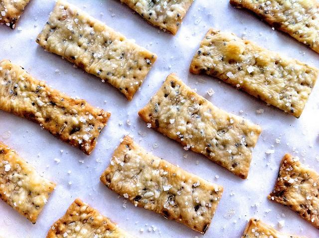 Crispy Fennel Seed Flatbread Crackers Closeup