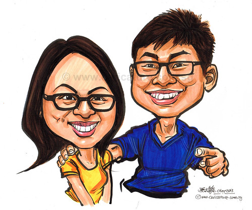 couple caricature in colour 06072013