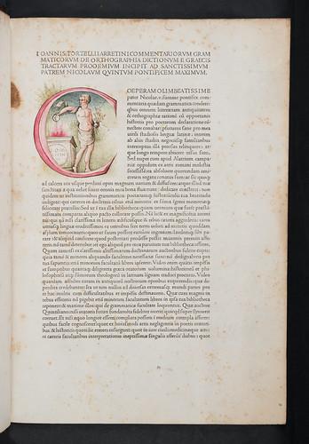 Historiated initial in Tortellius, Johannes: Orthographia