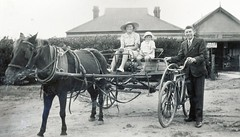 Yvonne, Claire and  Reg Moody in front of the Calomba Store and Post Office. 1936