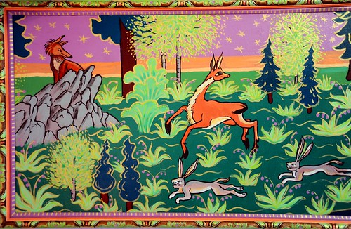 A red fox hiding on a rocky outcropping watches a springbok running with rabbits, decorative painting by Linda Lane, 1983, Anchorage, Alaska, USA by Wonderlane