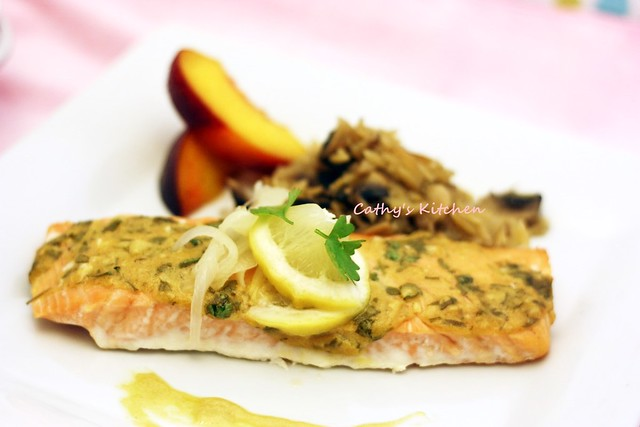 檬香芥末烤鮭魚 Baked Salmon with Lemon and Mustard  4