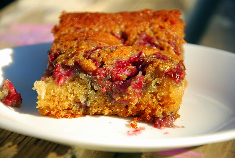 Vanilla Raspberry Swirl Cake