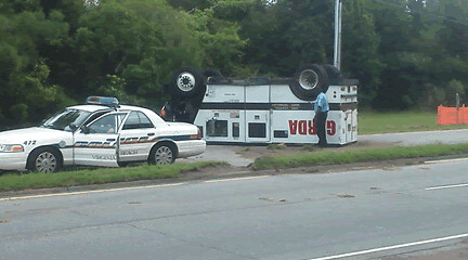 Over-turned Armored Truck on Laskin Road (July 29 2013)