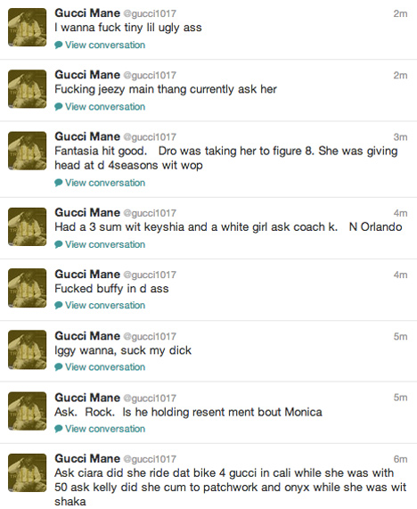 Gucci Mane goes off on twitter Claims he ran a train on Nicki Minaj and tygas baby Moms Blac Chyna