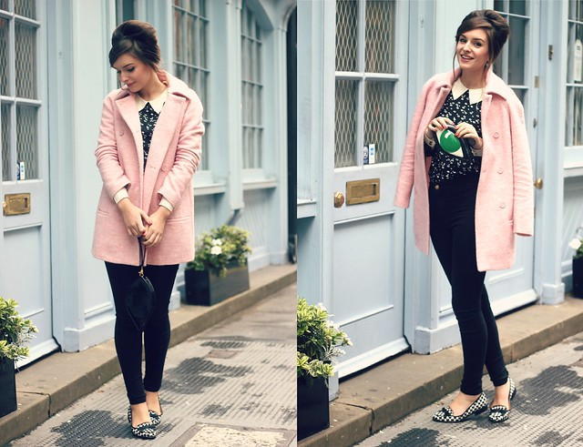 Lulu Guinness Eye Clutch Pink Coat Outfit 2