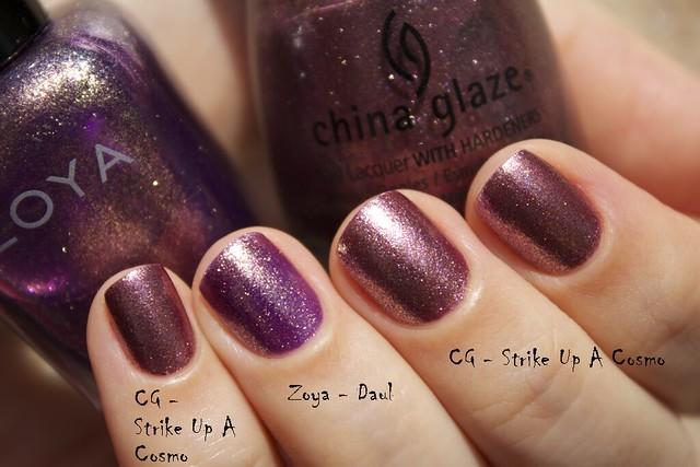 06 China Glaze Autumn Nights compare Strike Up A Cosmo vs Zoya Daul copy