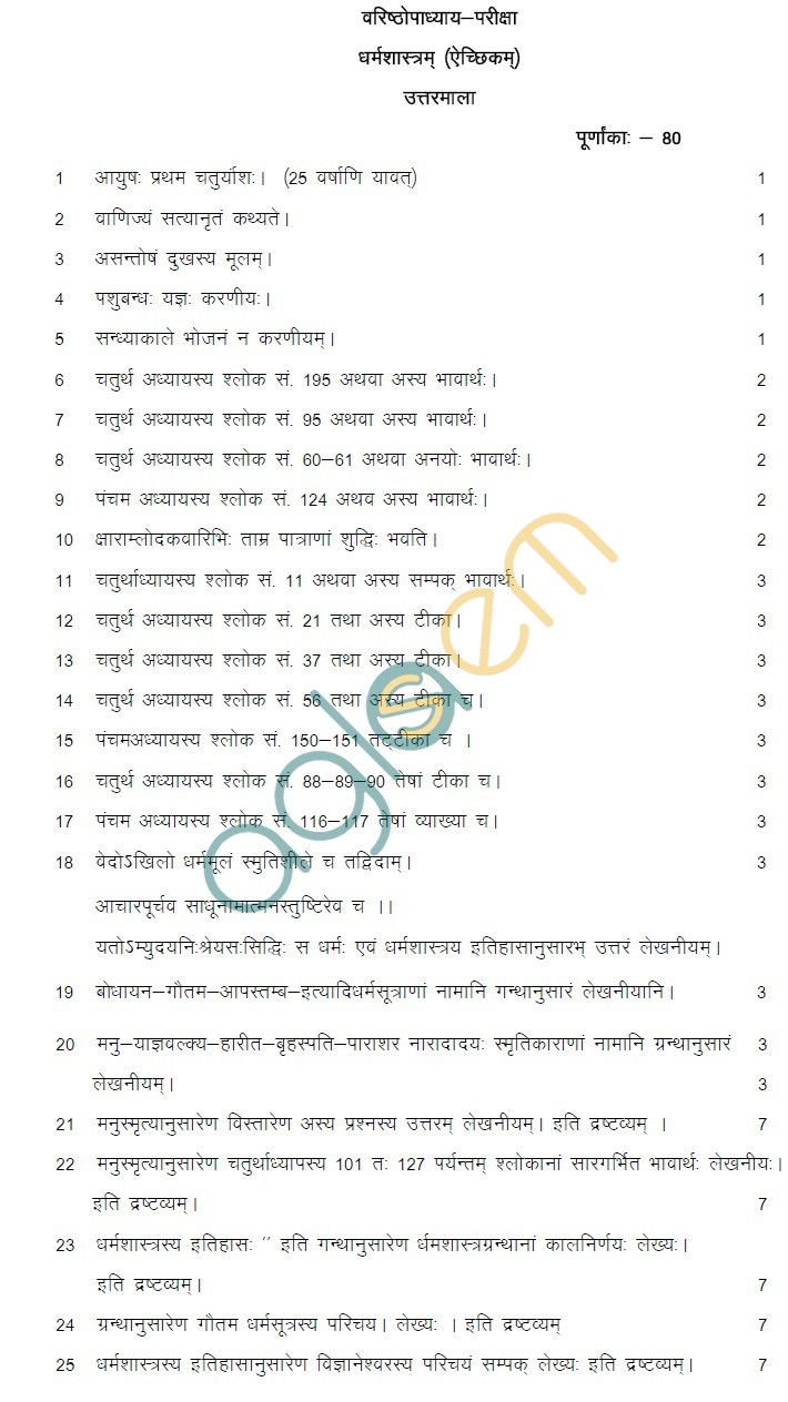 Rajasthan Board Class 12 Dharam Shastra Model Question Paper