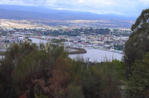 Launceston. A view of the city across the Tamar River in Tasmania.