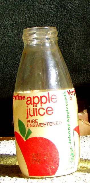 early 1980s veryfine apple juice bottle wjohnny appleseed