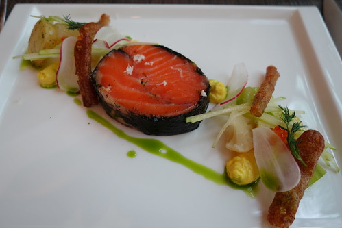 """Dill & Lemon flavoured Norwegian Ocean Trout 39 degrees with Smoked Egg Cream and Pickled Vegetables at Osia - """"Cooking with Friends"""" featuring Chef Geir Skeie & Chef Katrine Skeie (Oct 2013)"""