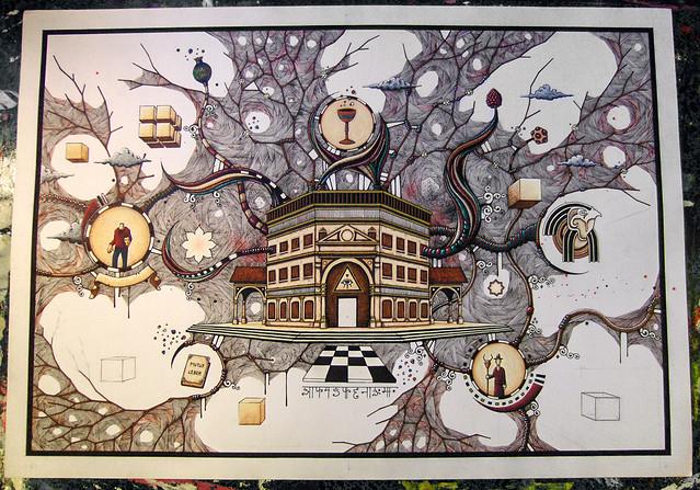 Le sanctuaire - Feutres Posca sur papier - étape 4 - 20 décembre 2013