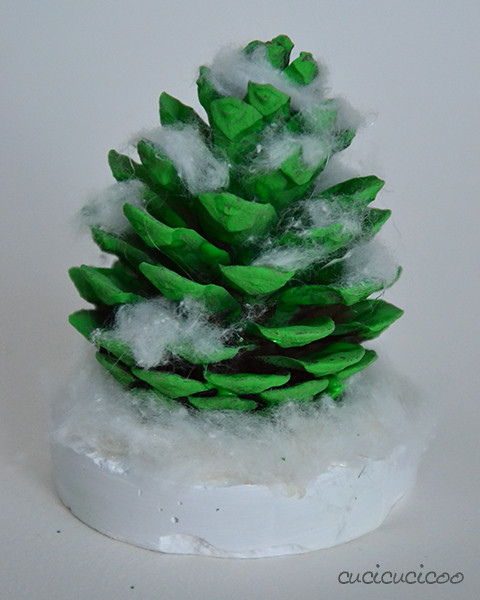 Make Christmas Trees out of pine cones