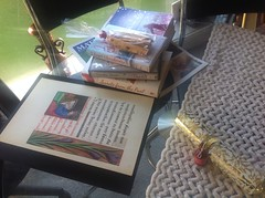Gifts: a page 'manuscript' from a swish student, cookies baked by my grand daughter, books to read from old age lending library, cracking from my Lewisham speakers club by Julie70