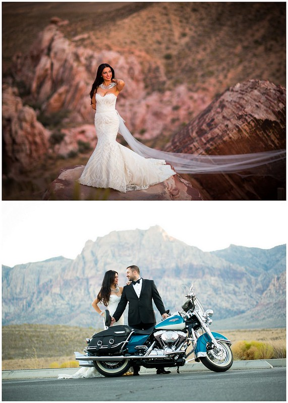 grand canyon wedding, statement bridal necklace, bride and groom with harley motorcycle, Vegas wedding