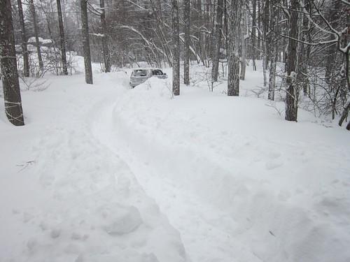 大雪のアプローチに作った通路 2014年2月15日09:23 by Poran111