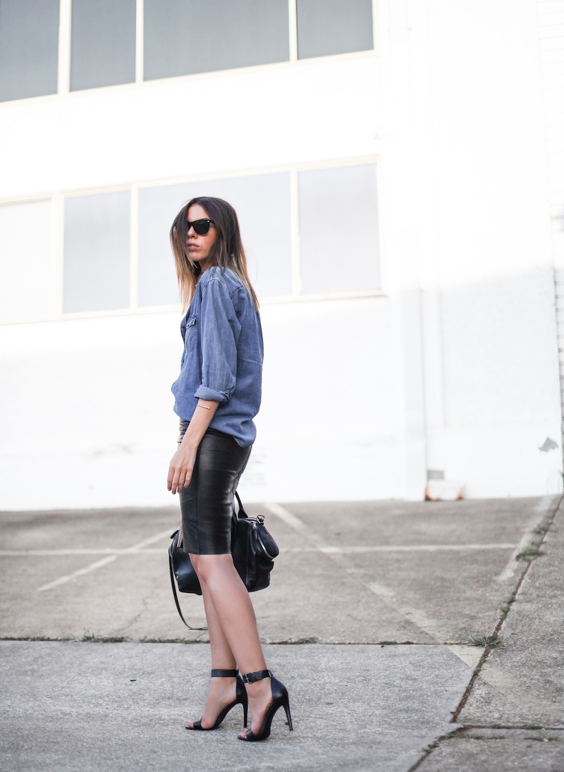 modern legacy fashion personal style blogger australia boyfriend denim shirt General Pants Co KAHLO leather zip pencil skirt Tibi sandal heels Alexander Wang chain bag street style ray ban oversized wayfarers (4 of 12)