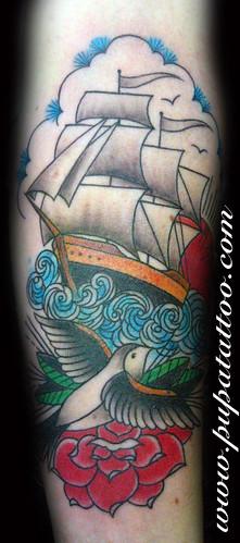 Tatuaje barco, Pupa Tattoo, Granada by Marzia PUPA Tattoo