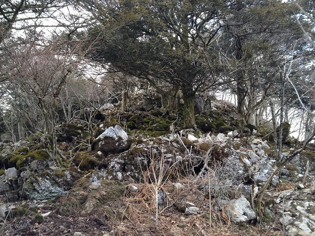 表山 登山道 岩場