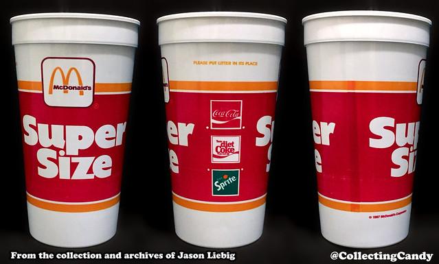 McDonald's Super Size plastic drink cup three-view  - 1987