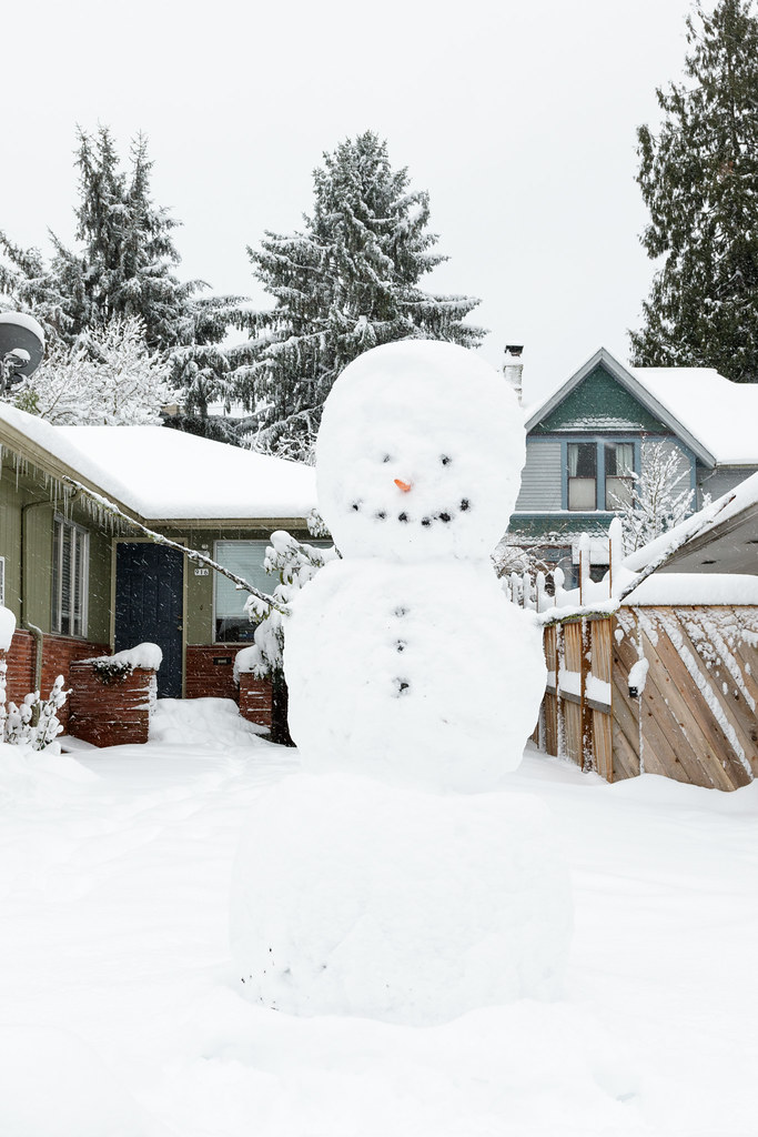 A large snowman in Portland, Oregon