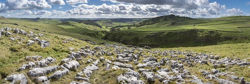 earlysterndale parkhouse hill chrome landscape limestone pavement rocks sunny march day panorama panoramic scenery peakdistrict derbyshire england view hills sunshine