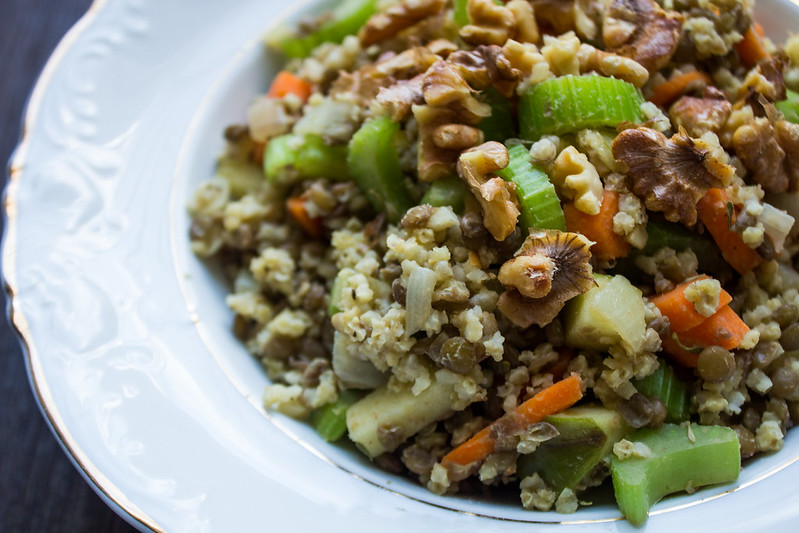 warm lentil walnut & apple salad