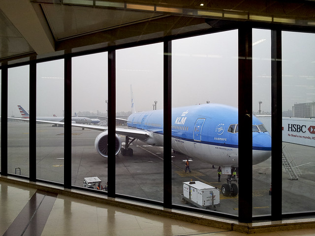 Our KLM flight in the Sao Paulo airport preparing to fly us home to England