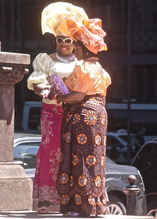 boston copley square copley square church woman in nigerian outfits orange yellow head dresses