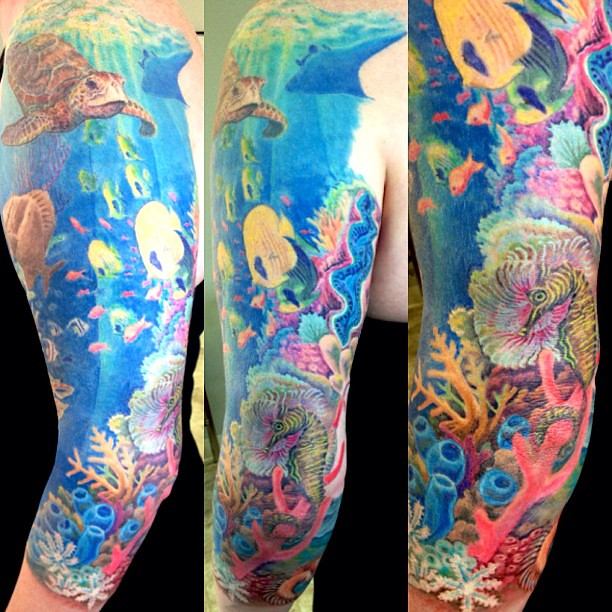 More Awesome Coral Reef Action!! #colortattoo
