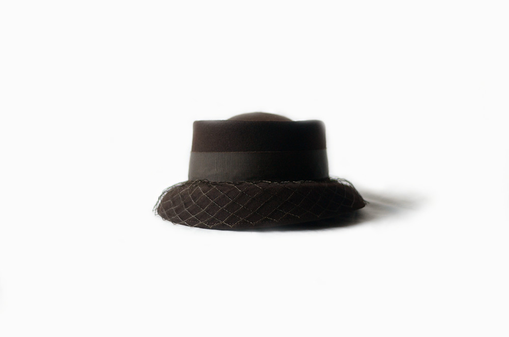 Dark Brown Vintage Hat with Hair Pin