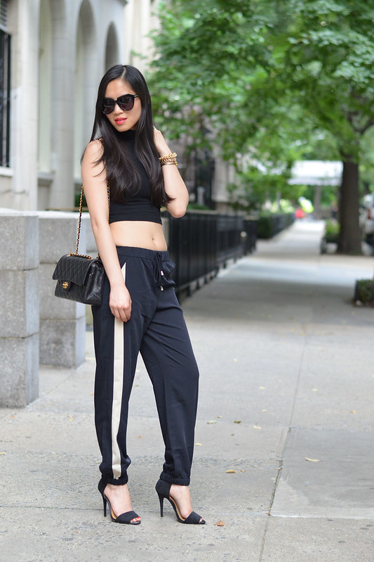 Sporty Chic black & white sriped cuffed pants and cropped top