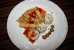 Baby corn, rice, olives, two sauces