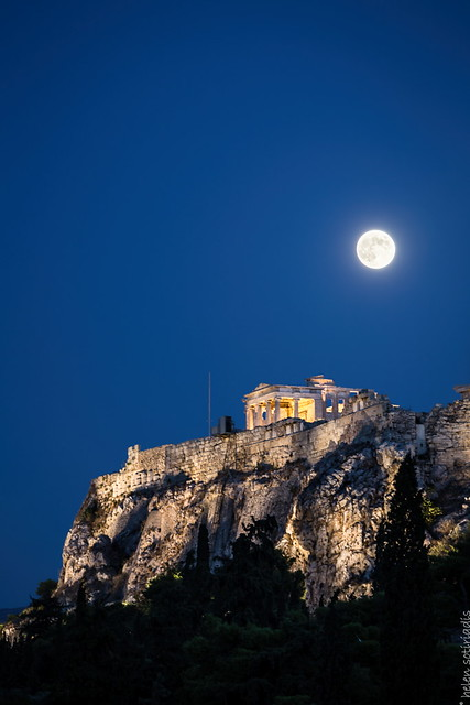 the august full moon over the erechtheion at the acropolis