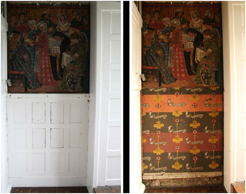 Before-and-after restoration, drawing room, Red House. (Image courtesy of Red House / National Trust.)