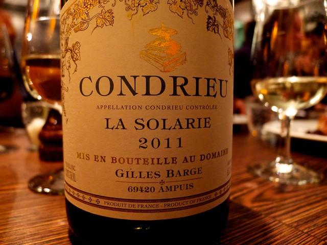 白ワインは、CONDRIEUのLA SOLARIE。はじめてのんだー。うまかったー。
