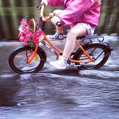 The Lulu discovers puddles on her bicycle #thelulu #cyclechic