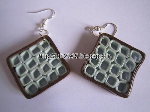 Handmade Jewelry - Paper Quilling Square Earrings (2) by fah2305
