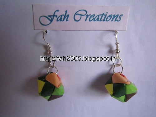 Handmade Jewelry - Origami Paper Box Earrings (Small) (7) by fah2305