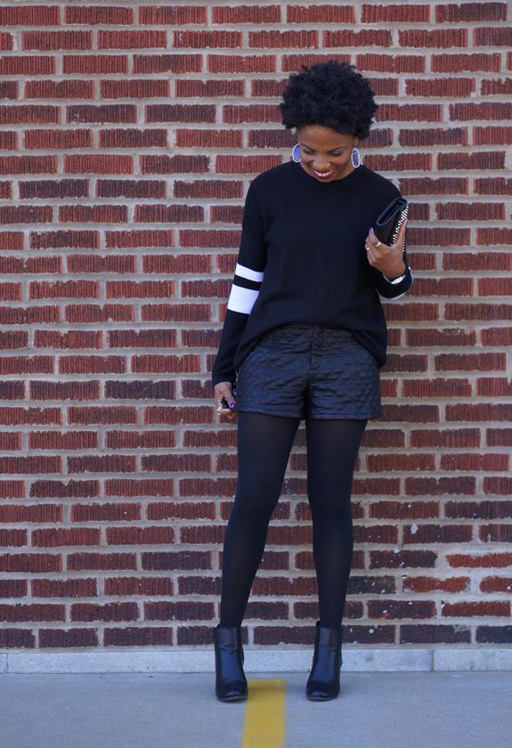 Forever 21 Varsity Stripe Waffle Knit Sweater, Forever 21 leather shorts 3c